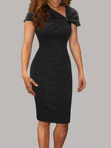 Black Rouched Collar Cap Sleeve Pencil Dress