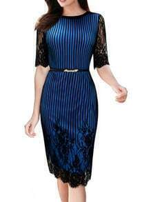 Blue Lace Half Sleeve Vertical Stripe Embroidered Dress
