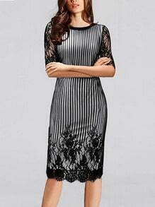 Black Lace Half Sleeve Vertical Stripe Embroidered Dress