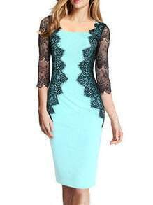 Light Blue Square Neck Lace Slim Dress