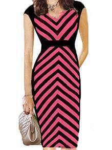 Black Red V Neck Striped Slim Dress