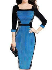 Blue Black Square Neck Striped Slim Dress