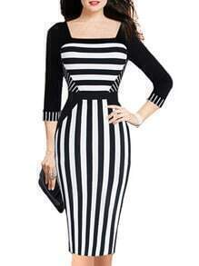 Black White Square Neck Striped Slim Dress