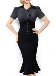 Black Short Sleeve Buttons Fishtail Dress
