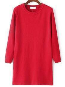 Red Round Neck Long Sleeve Sweater Dress