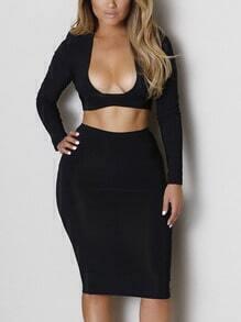 Black Drop Neck Crop Top With Skirt