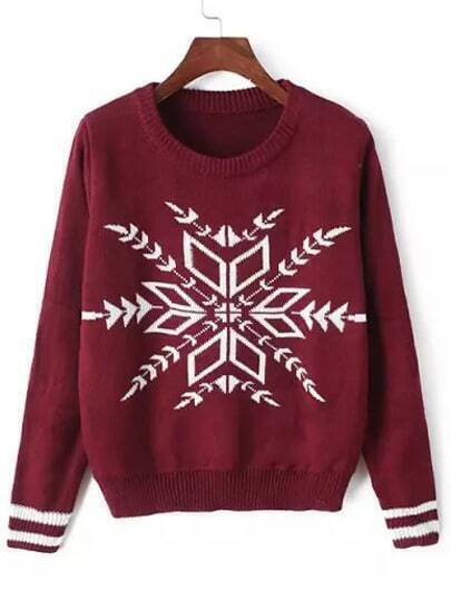 Red Round Neck Snowflake Print Crop Sweater