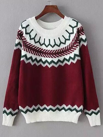 Red White Round Neck Geometric Print Sweater
