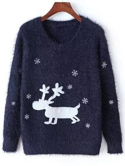 Navy Round Neck Deer Snowflake Print Sweater