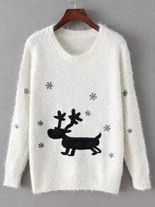 White Round Neck Deer Snowflake Print Sweater