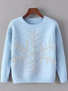 Blue Round Neck Snowflake Patterned Bead Sweater