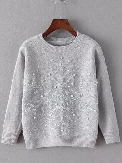 Grey Round Neck Snowflake Patterned Bead Sweater
