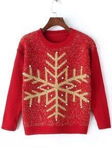 Red Round Neck Snowflake Patterned Bead Sweater