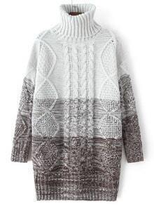 Coffee Ombre High Neck Cable Knit Sweater