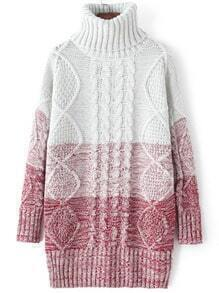 Red Ombre High Neck Cable Knit Sweater