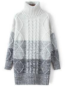 Blue Ombre High Neck Cable Knit Sweater