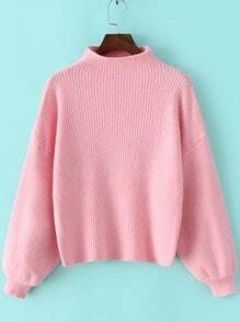Pink Mock Neck Lantern Sleeve Crop Sweater