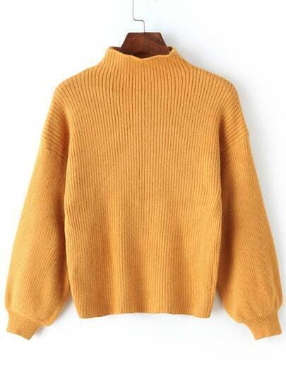Yellow Mock Neck Lantern Sleeve Crop Sweater