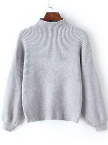 Grey Mock Neck Lantern Sleeve Crop Sweater
