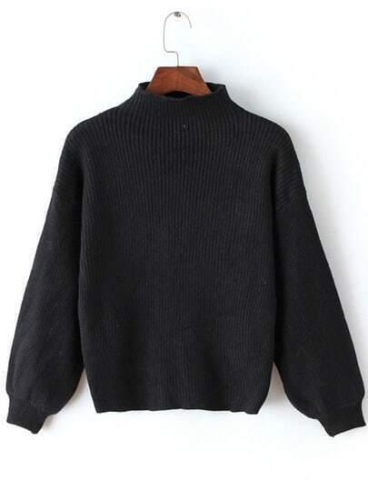 Black Mock Neck Lantern Sleeve Crop Sweater