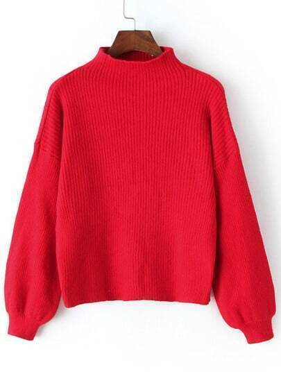 Red Mock Neck Lantern Sleeve Crop Sweater