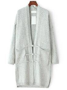 Light Grey Long Sleeve Pockets Sweater Coat