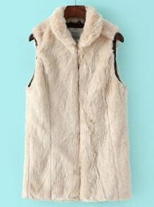 Beige Lapel Sleeveless Faux Fur Vest
