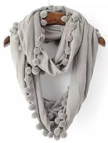 Grey Twisted Ball Scarve