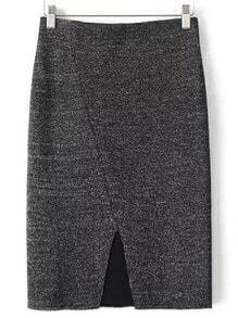 Grey Slim Split Skirt