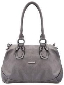 Grey Classic Zipper PU Shoulder Bag