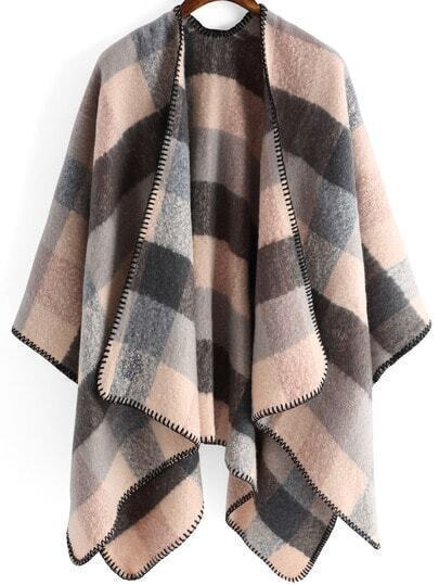 Colour Plaid Loose Cpae Cardigan