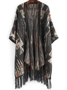 Colour Tribal Print Tassel Cardigan
