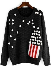 Black Round Neck Popcorn Patterned Sweater