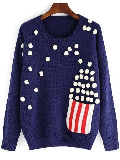 Blue Round Neck Popcorn Patterned Sweater