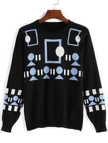 Black Round Neck Geometric Print Knitwear