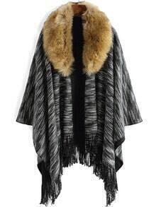 Black Lapel High Low Fringe Poncho