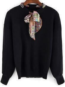 Black Shawl Collar Long Sleeve Loose Knitwear