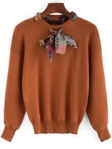 Khaki Shawl Collar Long Sleeve Loose Knitwear