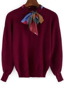 Burgundy Shawl Collar Long Sleeve Loose Knitwear
