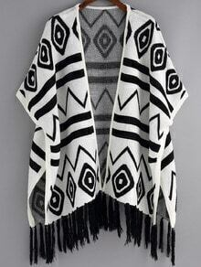 White Black Geometric Print Tassel Cardigan