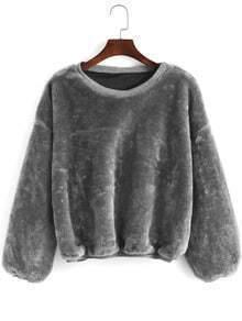 Grey Round Neck Loose Crop Sweatshirt