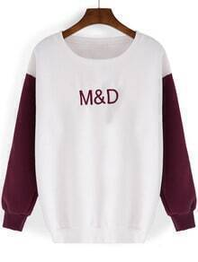 White Burgundy Round Neck Letters Embroidered Sweatshirt