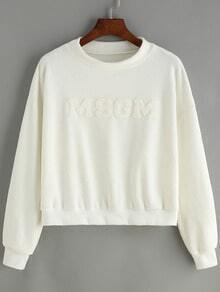 White Round Neck Letters Patterned Crop Sweatshirt