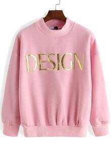 Pink Mock Neck Letters Patterned Sweatshirt