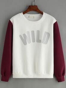 White Red Round Neck Letters Prtint Sweatshirt