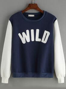 Blue White Round Neck Letters Prtint Sweatshirt