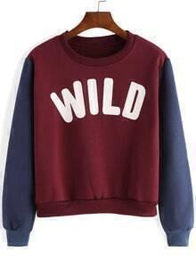 Red Blue Round Neck Letters Prtint Sweatshirt