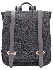 Grey Classic Plaid Backpack