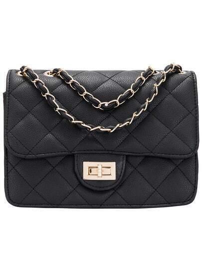 Black Diamond Patterned Chain Satchel Bag