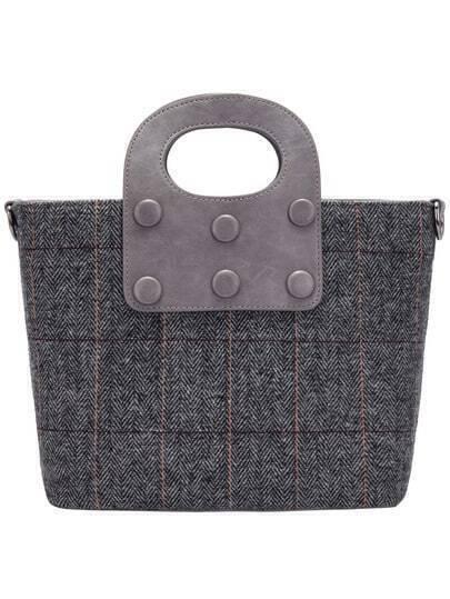 Grey Plaid Tote Bag